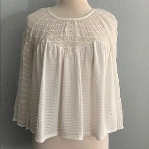 Lucky Brand Sz XS white womens bell sleeves blouse